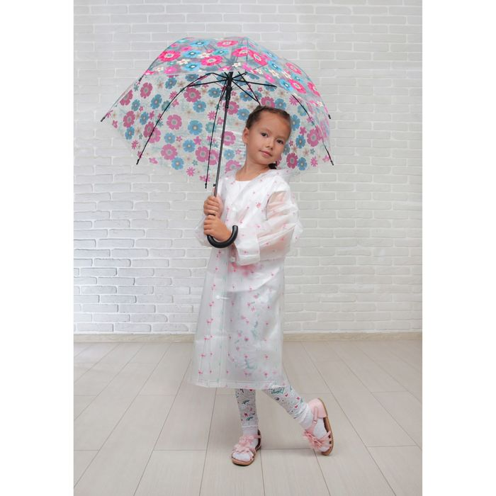 """Зонт детский полуавтоматический """"Нежный букет"""", r=42см, цвет розовый/голубой/чёрный"""