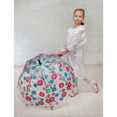 Зонт детский полуавтоматический «Нежный букет», r=42см, цвет розовый/голубой/чёрный