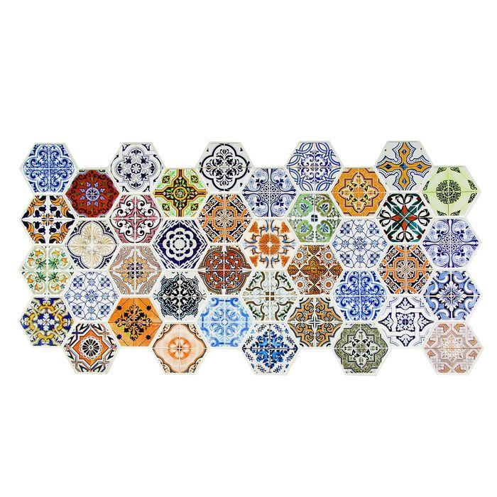 Панель ПВХ Граненый шестигранник Пэчворк 973*492