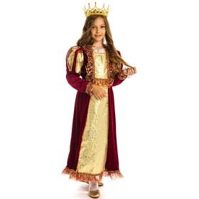 Карнавальный костюм «Королева», бархат, платье, корона, р. 28, рост 110 см