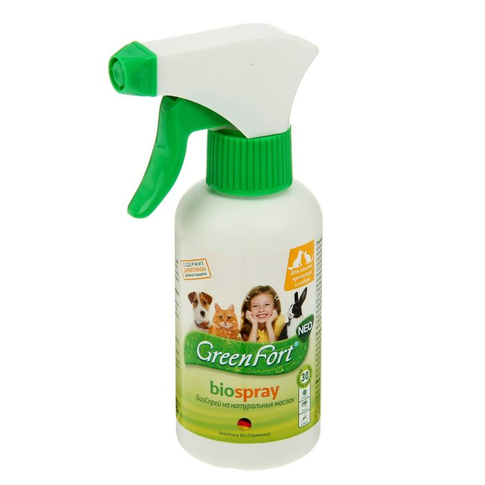 Биоспрей от блох GreenFort neo для кошек, собак и кроликов
