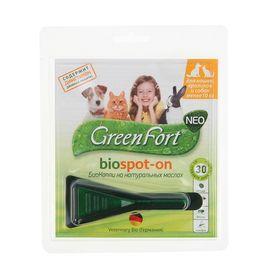 Биокапли от блох GreenFort neo для кроликов, кошек и собак до 10 кг Ош