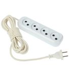 TUNDRA extension cord, 4 sockets, 5 m, 10 A, PVS 2x0.75 without the s/C, white, GOST