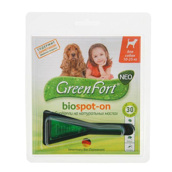 Биокапли GreenFort neo от блох для собак 10-25 кг