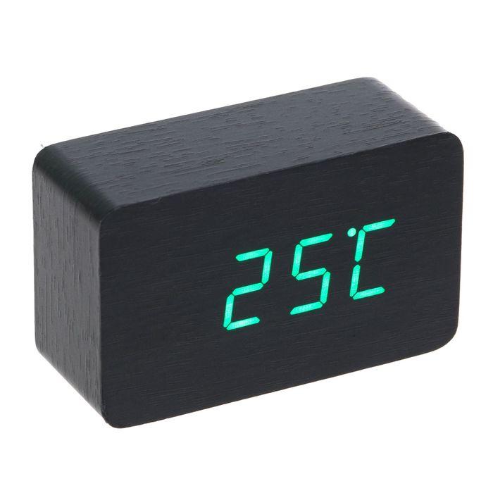 "Часы-будильник электронные ""Бертрано"", тёмное дерево, зелёные цифры, 10х6х4.5 см"