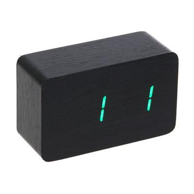 "Часы-будильник электронные ""Бертрано"", настенные, тёмное дерево, зелёные цифры, 10х6х4.5 см"