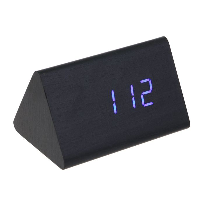 """Часы-будильник электронные """"Креон"""", настольные, тёмное дерево, синие цифры, 12х8х8 см"""