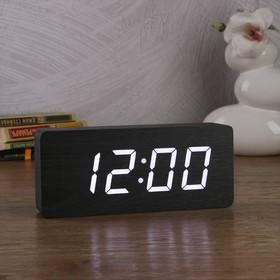 Часы-будильник настольные электронные прямоугольные, тёмное дерево, цифры белые, от сети, 21 х 5 х 9 см Ош