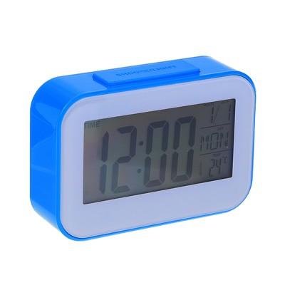 Часы-будильник электронные, настольные, прямоугольные, цветная рамка, 14х9.5х4 см, микс
