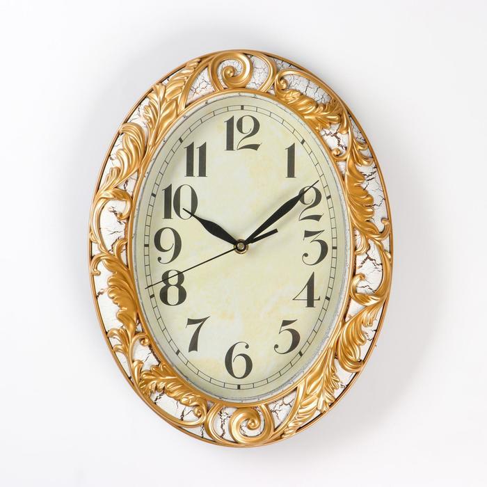 """Часы интерьерные овал серия """"Ренессанс"""" 30 см, узор золото, микс"""