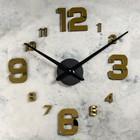 """Часы-наклейка DIY """"Объём модерн"""", цифры 3,6,9,12 большие, золотые, 120см"""