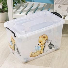 Контейнер для хранения Росспласт «Мишка и котёнок», 35 л, 50,5×31,5×28 см, цвет прозрачный