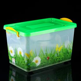Контейнер для хранения с крышкой «Трава», 35 л, 50,5×31,5 ×28 см, цвет зелёный