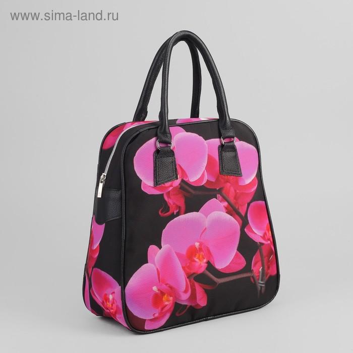 """Сумка женская на молнии """"Цветы"""", 1 отдел, цвет чёрный/розовый"""