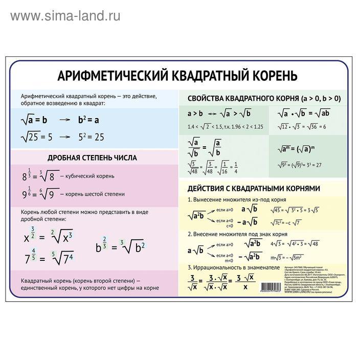 """Обучающий плакат """"Арифметический квадратный корень"""", А4"""