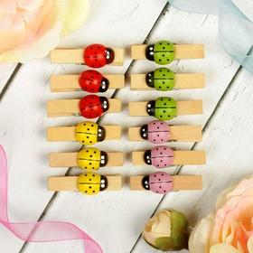 "Clothespins ""ladybugs"", mixed colors, set of 12 PCs., pin: 3.5 × 0.7 cm"