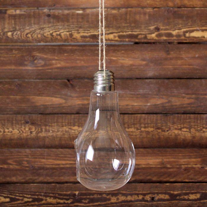Флорариум 22*11 см лампочка, с верёвкой - фото 410505