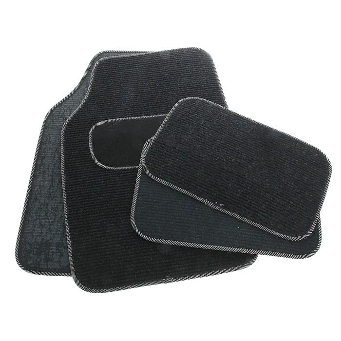 Набор ковриков для авто 4 шт. 67х43 см и 43х30 см, серо-черный