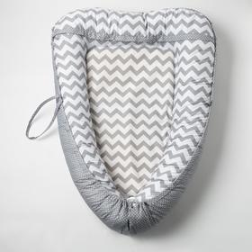 "Гнездышко-кокон для малыша ""Комфорт"", размер 100х72 см, цвет серый/белый К41/2"