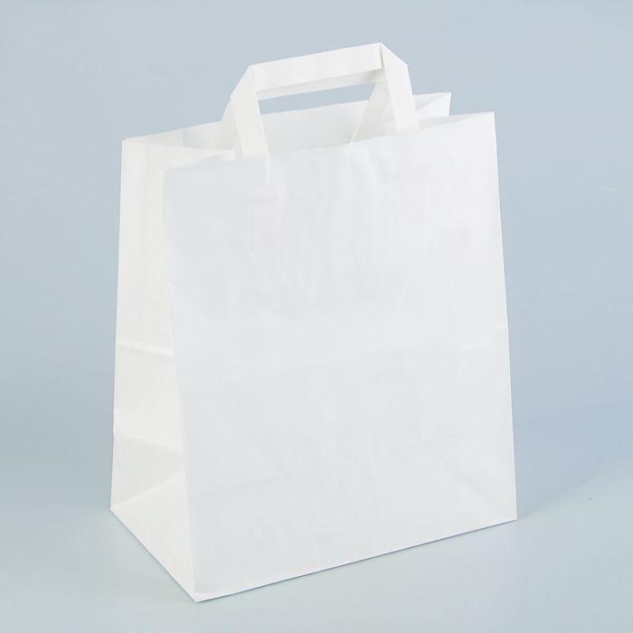 Пакет крафт без печати, белый, плоская ручка 24 х 14 х 28 см - фото 308279961