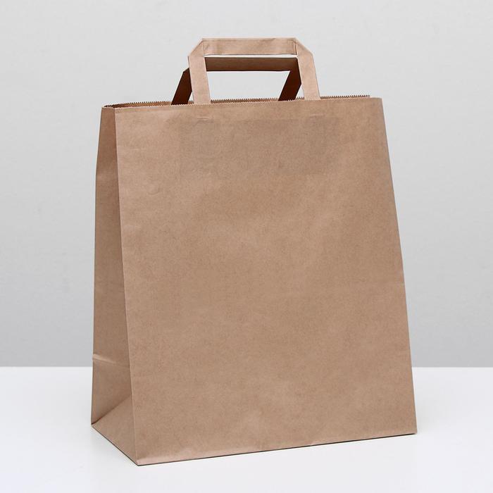 Пакет крафт без печати, плоская ручка 28 х 15 х 32 см - фото 308279963