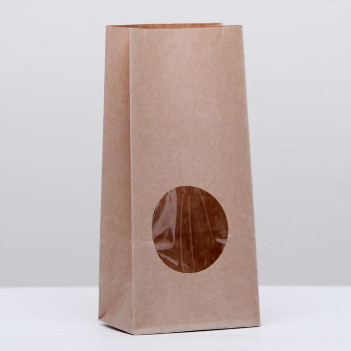Пакет крафт бумажный фасовочный, однослойный, с окном, прямоугольное дно 8(5) х 5 х 17 см - фото 308015712