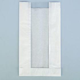 Пакет бумажный фасовочный, белый, с окном, V-образное дно 14(6) х 6 х 25 см Ош