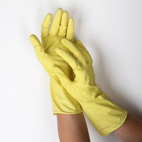 Перчатки резиновые, с внутренним х/б напылением, размер L, 30 гр, цвет жёлтый