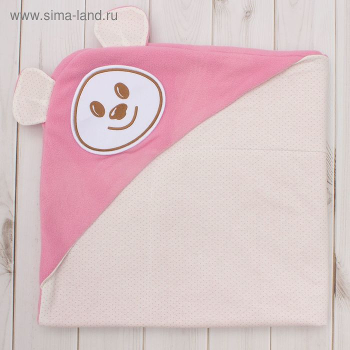 "Покрывало (плед) ""Медведь Ерошка"", размер 90 х 90 см, цвет розовый"