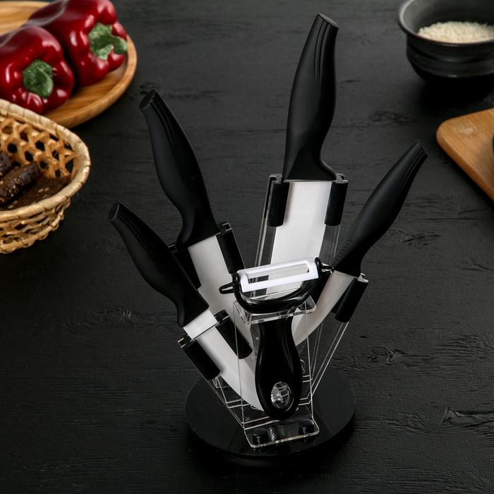 Набор кухонный, 5 предметов, на подставке, цвет чёрный
