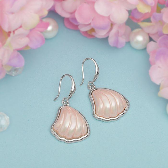 """Серьги с перламутром """"Майорка"""" дар моря, цвет розовый в серебре"""