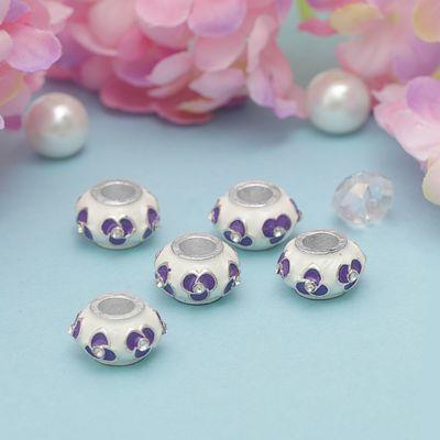 """Бусинка """"Фиалка"""", цвет бело-фиолетовый в серебре"""