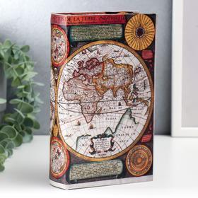"""Шкатулка-книга дерево """"Карта Колумба"""" кожзам 21х13х5 см"""