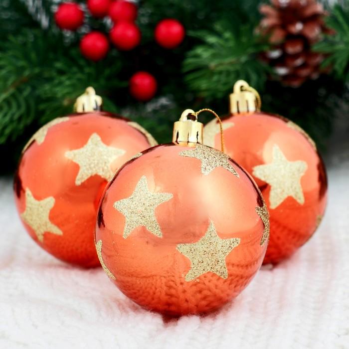 """Новогодние шары """"Яркая звезда"""" (набор 6 шт.), оранжевые"""