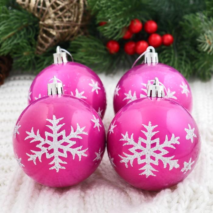 """Новогодние шары """"Капель"""" (набор 6 шт.), снежинка, малиновые"""