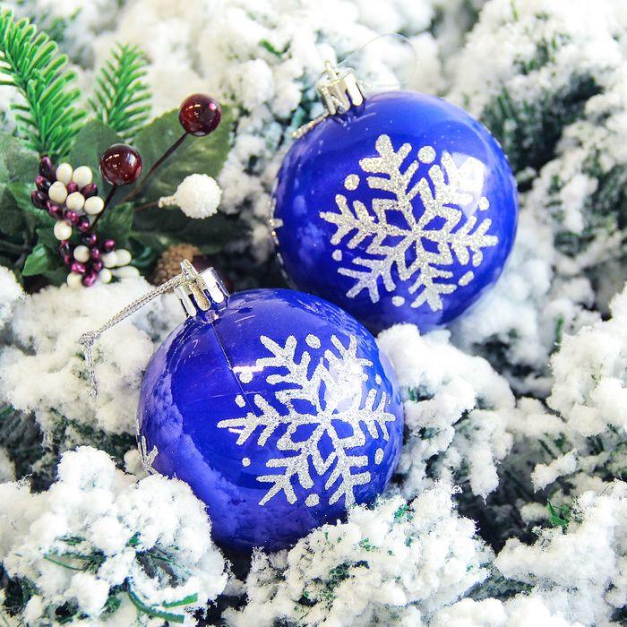 """Набор шаров пластик d-7 см 6 шт """"Снежинка капель"""" синий"""