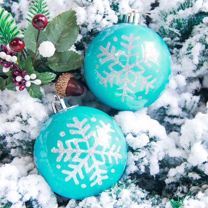 """Набор шаров пластик d-7 см 6 шт """"Снежинка капель"""" голубой"""