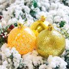 Новогодние шары «Фрэско», набор 12 шт., цвет золотой