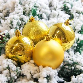 Christmas balls Pattern (set of 6 PCs), Golden