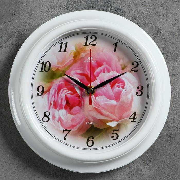 "Часы настенные ""Розы"", ""Рубин"", 21х21 см"