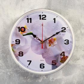 "Часы настенные ""Орхидея белая"", ""Рубин"", 25х25 см"