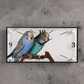 """Часы настенные, серия: Животный мир, """"Парочка попугаев"""", 19х39 см"""
