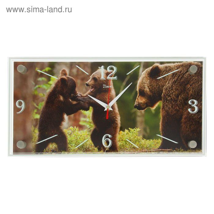 """Часы настенные, серия: Животный мир, """"Играющие медвежата"""", 19х39 см"""