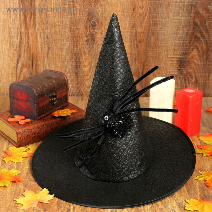 "Carnival hat ""Cone"" with spider, black color"