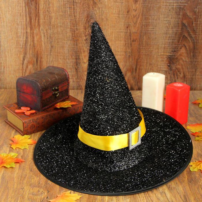 Карнавальная шляпа «Конус», жёлтый ремешок - фото 449320