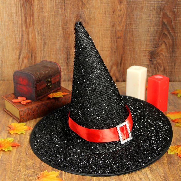 """Карнавальная шляпа """"Конус"""" красный ремешок"""