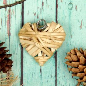 Основа для творчества и декорирования 'Сердце' с подвесом, размер 1 шт 5*5 см, цвет бежевый Ош