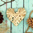 """Основа для творчества и декорирования """"Сердце"""" с подвесом, размер 1 шт 6*6 см, цвет бежев"""