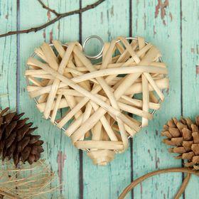 Основа для творчества и декорирования 'Сердце' с подвесом, размер 1 шт 10*10 см, цвет бежев Ош
