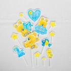 Набор для оформления праздника «1 годик малыш», воздушные шары, подставка для торта, гирлянда, топперы, открытка, свеча - фото 951061